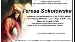 Zmarła Teresa Sokołowska. Żyła 70 lat.