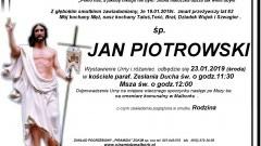 Zmarł Jan Piotrowski. Żył 62 lata.