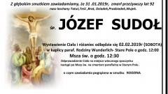 Zmarł Józef Sudoł. Żył 82 lata.