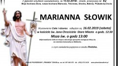 Zmarła Marianna Słowik. Żyła 82 lata.