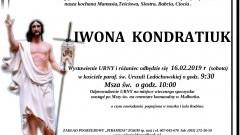 Zmarła Iwona Kondratiuk. Żyła 59 lat.
