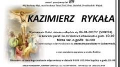 Zmarł Kazimierz Rykała. Żył 89 lat