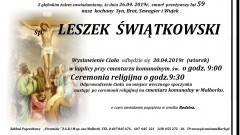 Zmarł Leszek Świątkowski. Żył 59 lat.