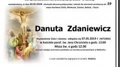 Zmarła Danuta Zdaniewicz. Żyła 59 lat.