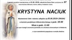 Zmarła Krystyna Naciuk. Żyła 87 lat.