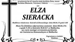 Zmarła Elza Sieracka. Żyła 62 lata.