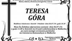 Zmarła Teresa Góra. Żyła 70 lat.