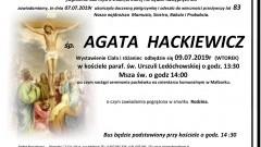 Zmarła Agata Hackiewicz. Żyła 83 lata.