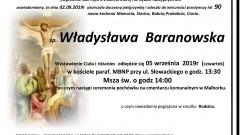 Zmarła Władysława Baranowska. Żyła 90 lat.