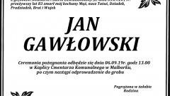 Zmarł Jan Gawłowski. Żył 83 lata.