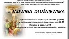 Zmarła Jadwiga Dłużniewska. Żyła 67 lat.