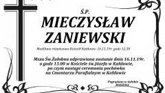 Zmarł Mieczysław Zaniewski. Żył 74 lata.