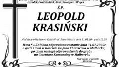 Zmarł Leopold Krasiński. Żył 87 lat.