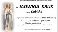Zmarła Jadwiga Kruk. Żyła 66 lat.