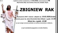 Zmarł Zbigniew Rak. Żył 76 lat.