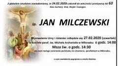 Zmarł Jan Milczewski. Żył 63 lata.