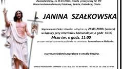 Zmarła Janina Szałkowska. Żyła 91 lat.