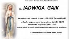 Zmarła Jadwiga Gaik. Żyła 87 lat.