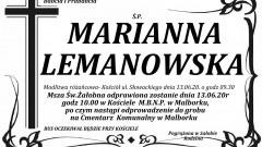 Zmarła Marianna Lemanowska. Żyła 88 lat.