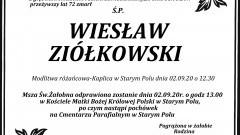 Zmarł Wiesław Ziółkowski. Żył 72 lata.