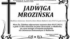 Zmarła Jadwiga Mrozińska. Żyła 87 lat.