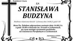 Zmarła Stanisława Budzyna. Żyła 87 lat.