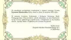 Kondolencje Społeczności Zespołu Szkolno-Przedszkolnego nr 1 w Malborku.