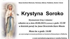 Zmarła Krystyna Soroko. Żyła 82 lata.