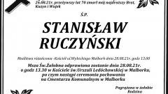 Zmarł Stanisław Ruczyński. Żył 70 lat.