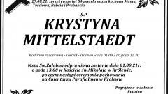 Zmarła Krystyna Mittelstaedt. Żyła 84 lata.