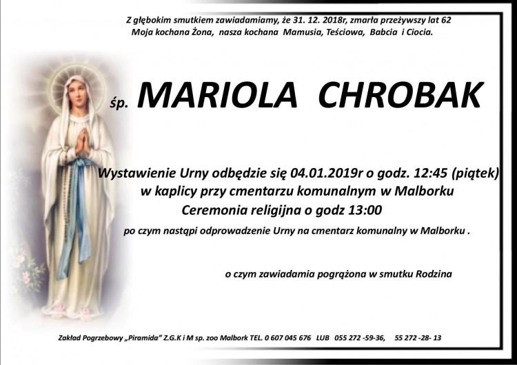 Zmarła Mariola Chrobak. Żyła 62 lata.