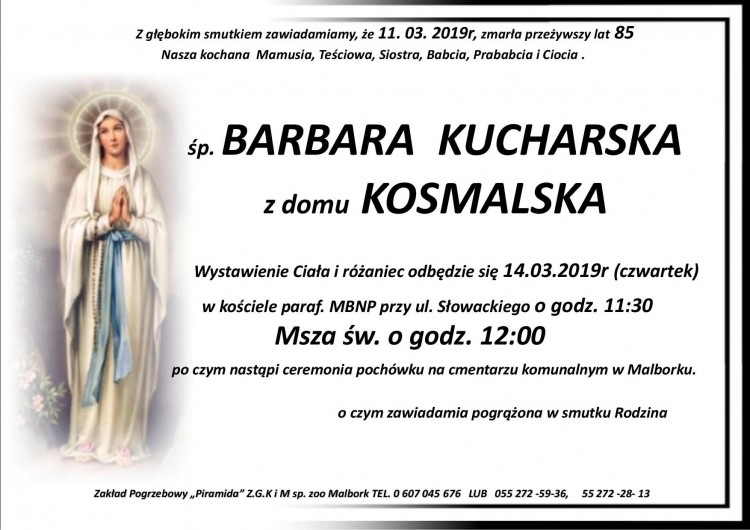 Zmarła Barbara Kucharska. Żyła 85 lat.