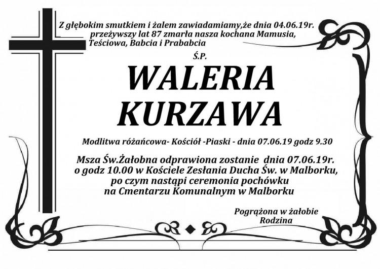 Zmarła Waleria Kurzawa. Żyła 87 lat