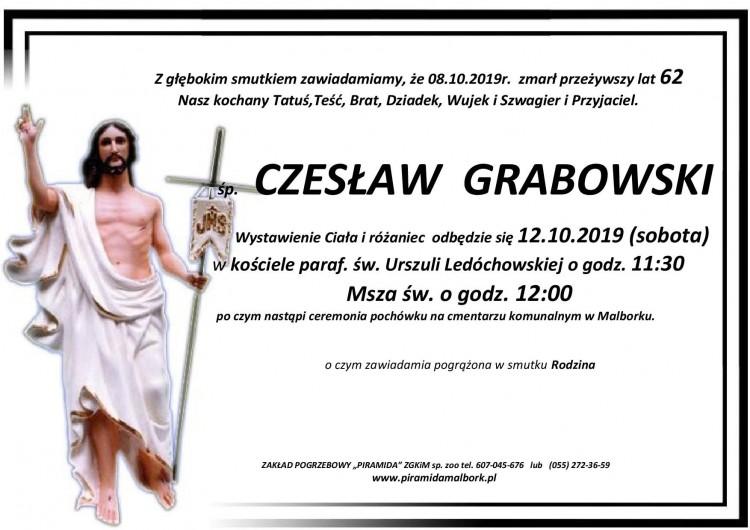 Zmarł Czesław Grabowski. Żył 62 lata.
