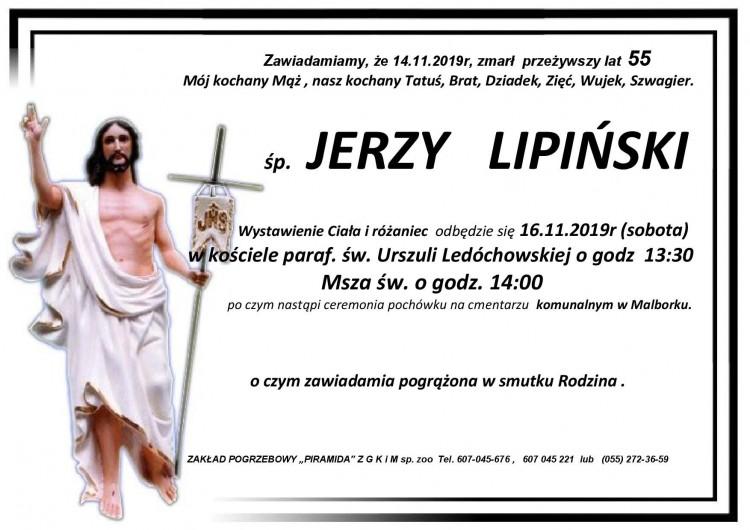Zmarł Jerzy Lipiński. Żył 55 lat.