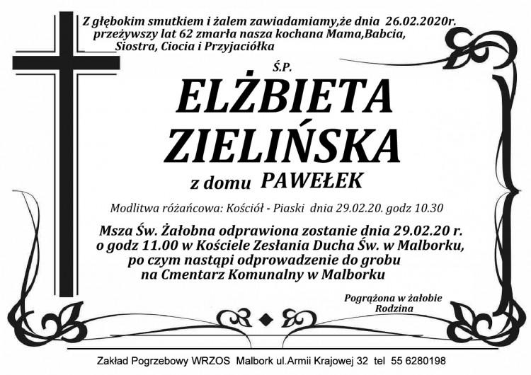 Zmarła Elżbieta Zielińska. Żyła 62 lata.